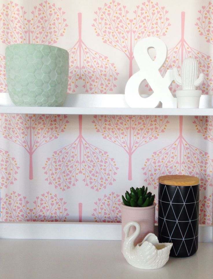 Shelfie featuring our Love Trees wallpaper. I'm in love with this cute pattern! <3 Perfect for kids rooms and nurseries | BC Magic Wallpaper