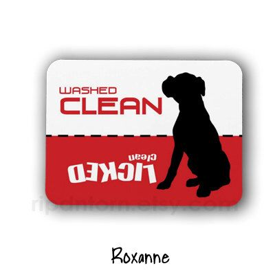 Clean Dirty Dishwasher Magnet, Boxer Dog Design - Washed Clean, Licked Clean - Sign for dishwasher, boxer puppy by RipdNTorn on Etsy https://www.etsy.com/listing/177725312/clean-dirty-dishwasher-magnet-boxer-dog