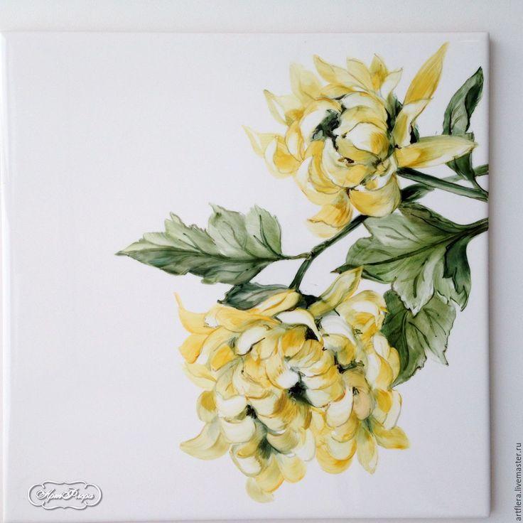 Купить Роспись керамики Фартук для кухни Цветы - роспись керамики, Роспись плитки, фартук для кухни