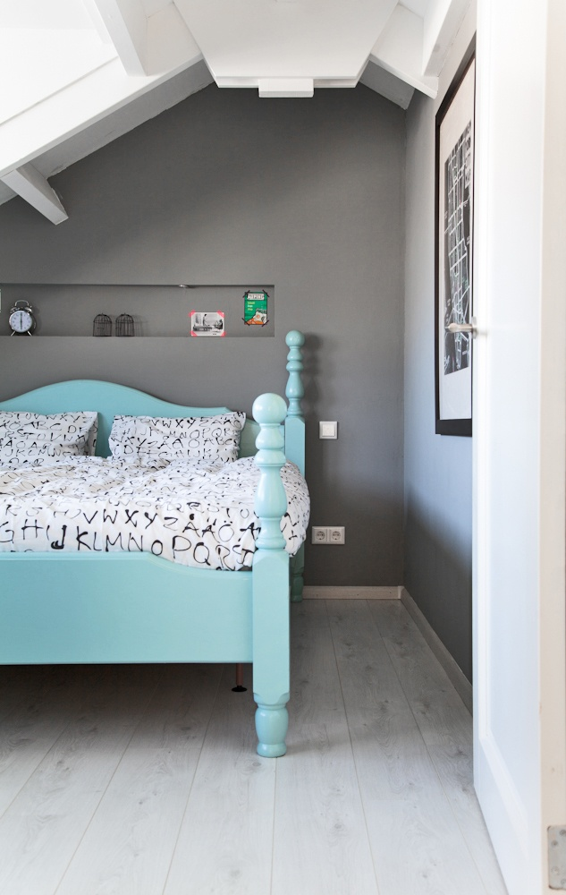 Aqua Bed Turquoise Headboard Gray Walls Master Bedroom