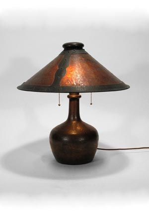 "Stickley Brothers Co, copper and mica lamp, 19"" high 18"" diameter, $3850"
