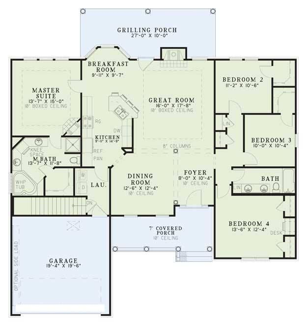House plan 110 00340 ranch plan 1 880 square feet 4 for Bedroom 70 square feet