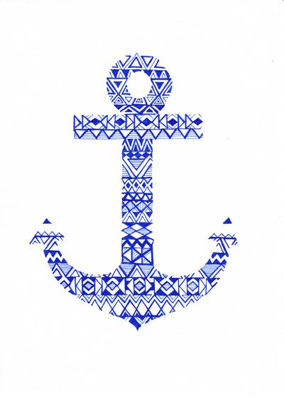 Tribal anchor art print tribal designs anchors and for Print wallpaper designs