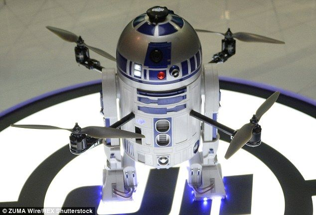 The drone is a quadcopter drone with the body of the famous Star Wars droid R2-D2. The dro...