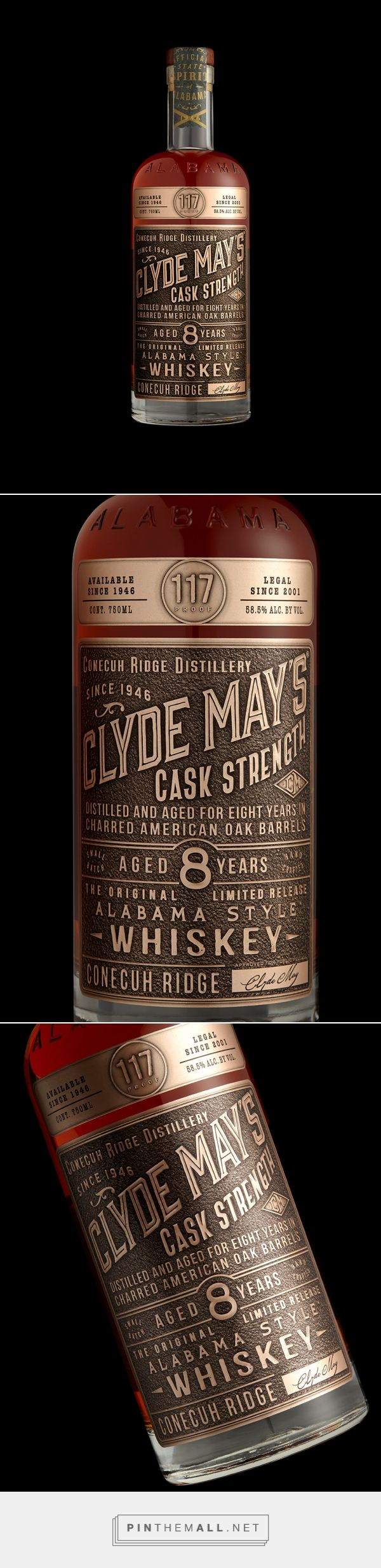 Clyde May's Cask Strength whiskey packaging design by Stranger & Stranger - http://www.packagingoftheworld.com/2017/10/clyde-mays-cask-strength.html