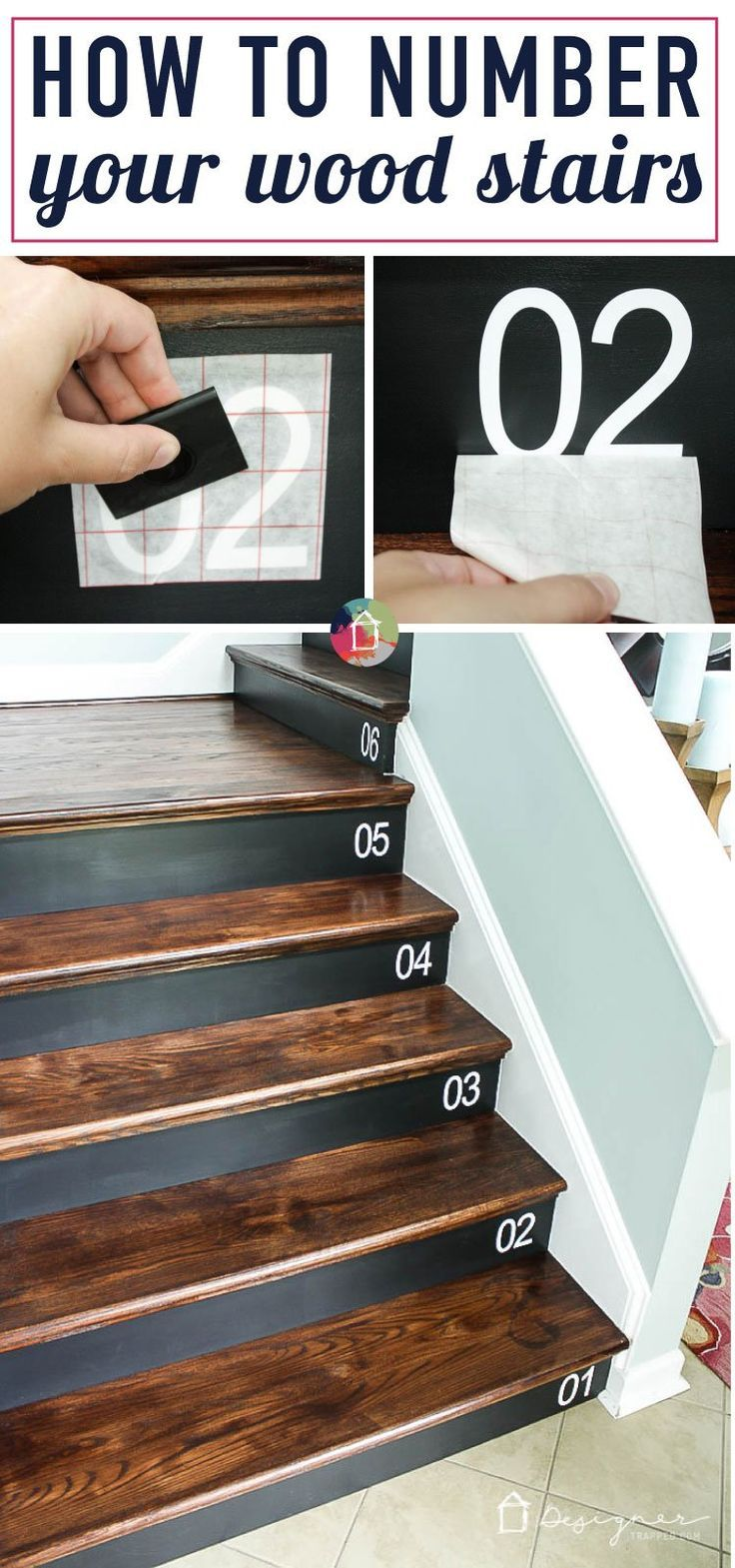 Virtual craft club diy vinyl wood slice sugar bee - Learn How To Number Your Wood Stairs The Easy Way