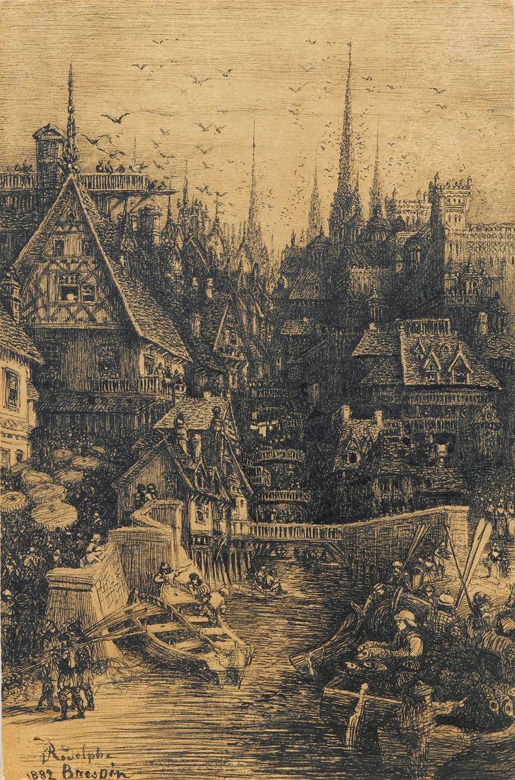 Rodolphe Bresdin, View of a medieval city, 1882. Pen and ...