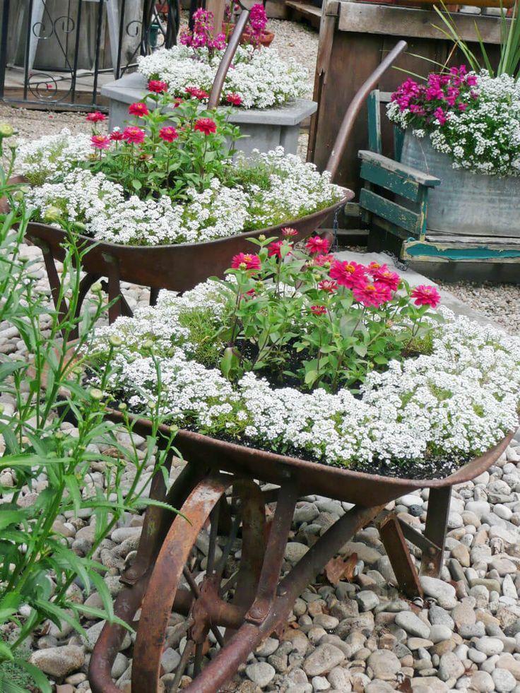 Rusty Vintage Wheelbarrow Flower Planters