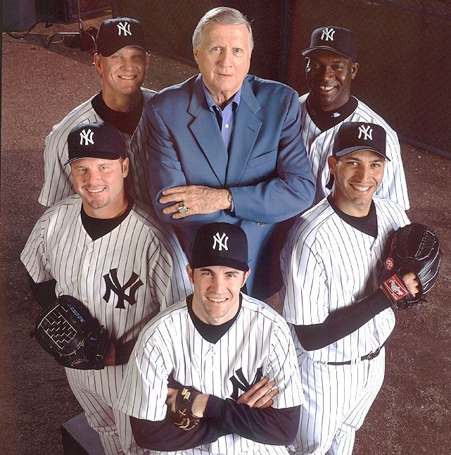 George Steinbrenner poses with Yankees pitchers (clockwise from top right) Jose Contreras, Andy Pettitte, Mike Mussina, Roger Clemens and Jeff Weaver during spring training in 2003. Pettitte came out of retirement on Friday and will pitch for the Yankees this season