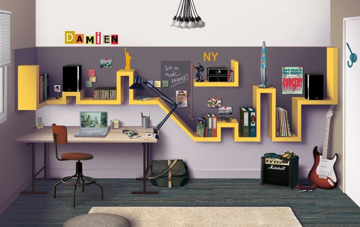 Creative city themed kids room built in custom trim for Cityscape bedroom ideas