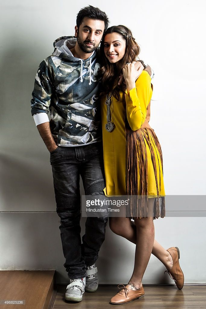 Bollywood actors Ranbir Kapoor and Deepika Padukone pose for a photograph during a visit to Hindustan Times for promotion of their upcoming film Tamasha on November 19, 2015 in Mumbai, India.