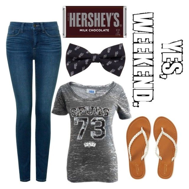 """""""Spurs game tonight"""" by emmashae1 ❤ liked on Polyvore featuring NYDJ, Aéropostale and Hershey's"""