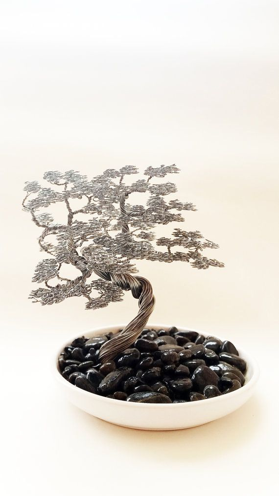 Wind swept bonsai wire tree sculpture docorated by BonsaiWireTree