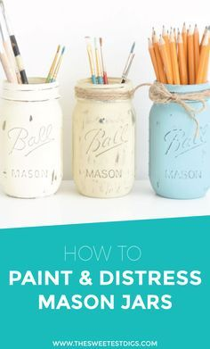 DIY rustic chalk painted mason jars. They make great vases, paintbrush or pencil holders, or makeup brush holders.  Click through for tutorial!