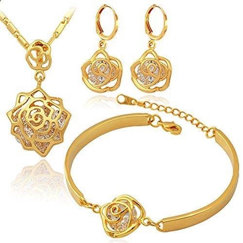 U7 Vintage Infinity Rose 18k Gold Plated Necklace Bracelet & Earrings Set with Imported Crystal Element. Read more description on the website.