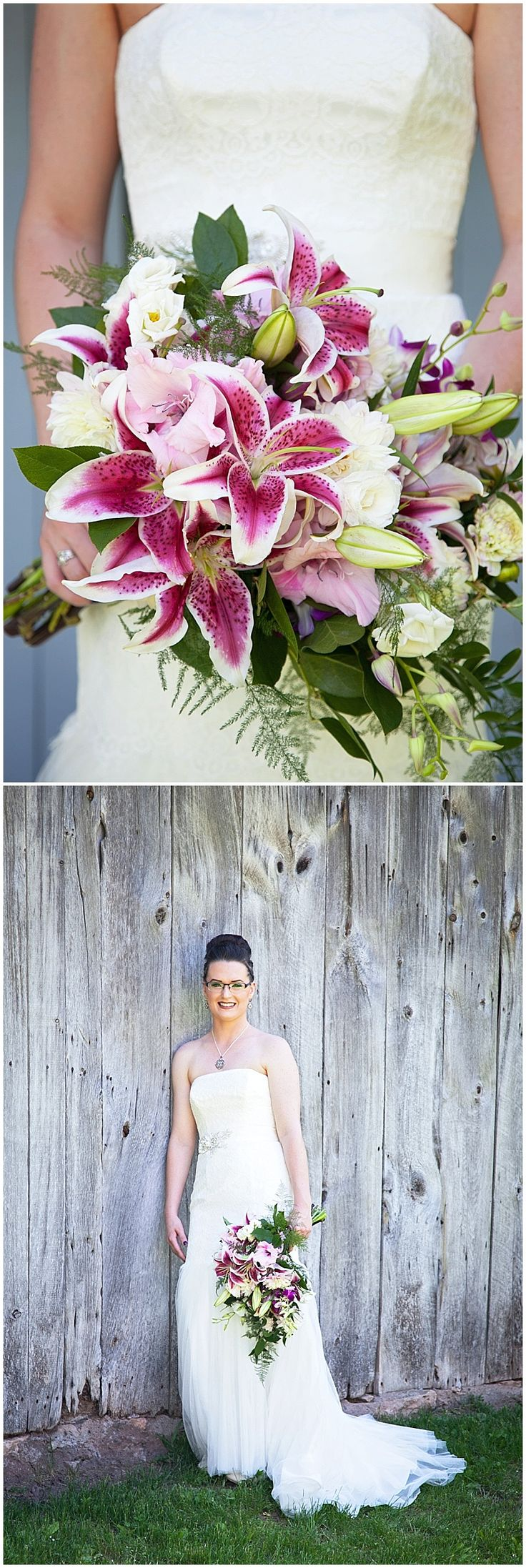 Bridal bouquet designed by Minneapolis wedding florist Artemisia Studios with stargazer lilies, dendrobium orchids, lisianthus, gladiolus, two-toned dahlias, Italian Ruscus, and plumosa. Photos by Patrick Clancy Photography (http://www.patrickclancy.com/) #stargazerlilies #bride #bridalbouquet #Lilies #minneapolisflorist #florist #weddingflorist #summerflowers #minneapolisweddingflorist #minnesotaweddingflorist #artemisiastudios