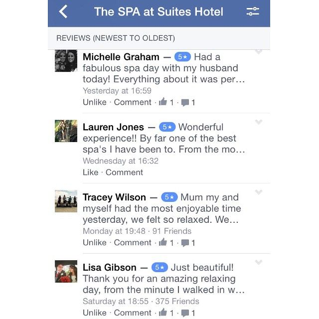 Great #reviews of our #spa come and experience out 5 star spa and treatments! Why not like us on Facebook? Www.facebook.com/suitesspa