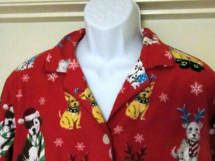 Nick and Nora sleep top Christmas Dogs red flannel All cotton XXL 48 bust #NickNora #Sleepshirt