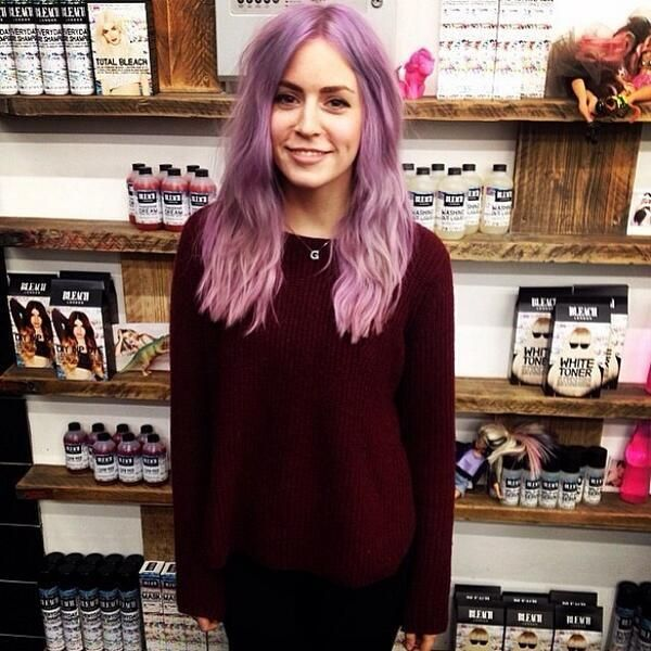 Gemma Styles hair colour of the day: Lilac base; Blonde roots. Mid length cut.