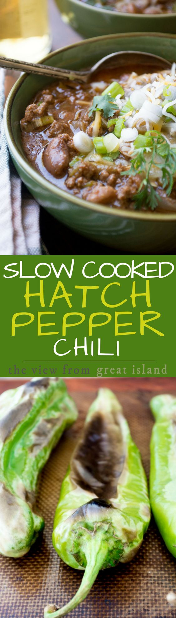 (Try this a man pleasing 2 meat -)Slow Cooked Hatch Pepper Chili ~ this lush chili is perfect for the summer months when fresh Hatch chiles from New Mexico are available ~ but use canned or frozen chiles the rest of the year so you don't miss this amazing slow cooked meal. | crock pot | stews | New mexican chili | Hatch chili peppers |