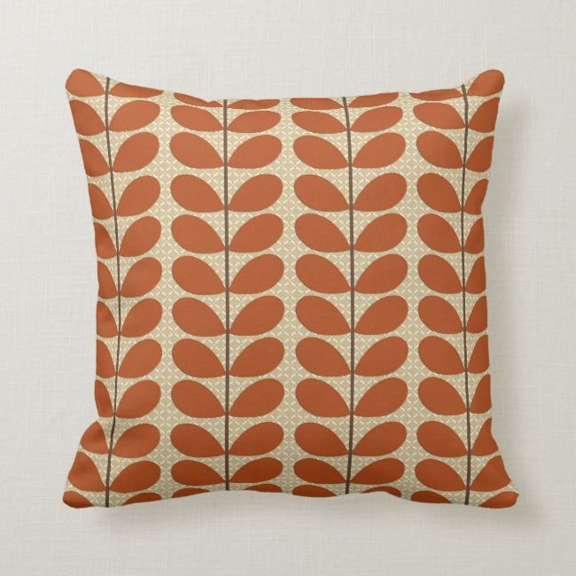 Mid Century Danish Leaves Rust Brown And Beige Throw Pillow Zazzle Com Beige Throw Pillows Throw Pillows Beige Throws