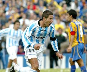 Diego Simeone (Racing Club de Avellaneda, 2005–2006, 37 apps, 3 goals) celebrates a goal in a 2-0 Racing's win over Central.