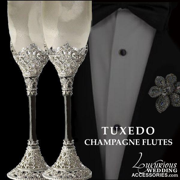 Luxurious Wedding Accessories — Tuxedo Black Silver & White Wedding Collection
