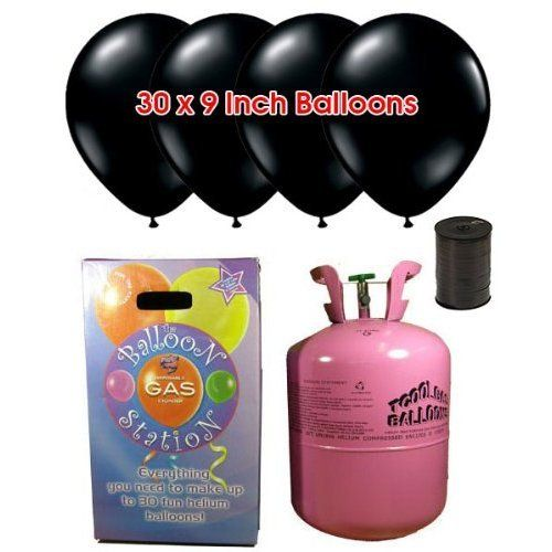 Disposable Helium Gas Cylinder with 30 Black Balloons and Curling Ribbon included Partyrama http://www.amazon.co.uk/dp/B00EHDEY1C/ref=cm_sw_r_pi_dp_Ruriwb1FGM7T2