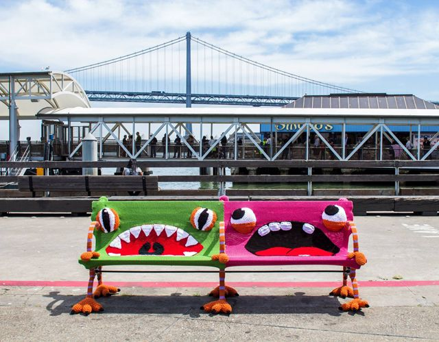 Look at this!! My fave yarnbombers Jill and Lorna Watt made amazing fibre art the SF Ferry Building and apparently it's all been filmed for CCTV America's new show Full Frame. Awesome! #knit #knitting #yarnbomb