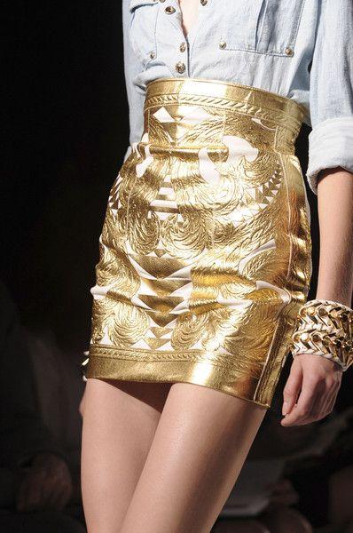 Divine gold skirt - Balmain at Paris Fashion week Spring 2012 www.finditforweddings.com