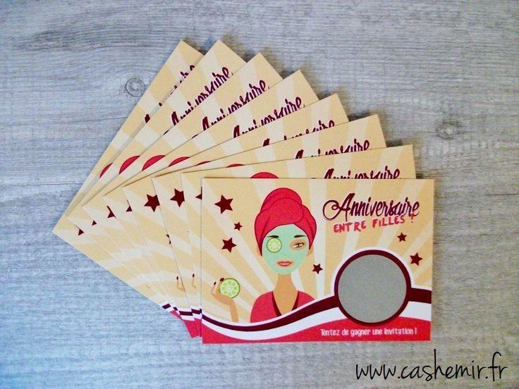 Cartes invitation anniversaire fille enfant, par lot de 8, cartes à gratter Fille Beauté : Mode filles par cashemir
