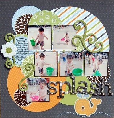 This post is loaded with stuff I like....the circle background on this layout is fun and uses up scraps!