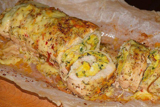 Retete Culinare - Rulada de pui cu cascaval