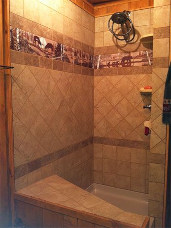 Bathroom Shower Tiles, Bathroom Stuff, Master Bathroom, Picture Tiles,  Shower Surround, Steam Showers, Western Decor, Western Cowboy, Vintage  Bathrooms