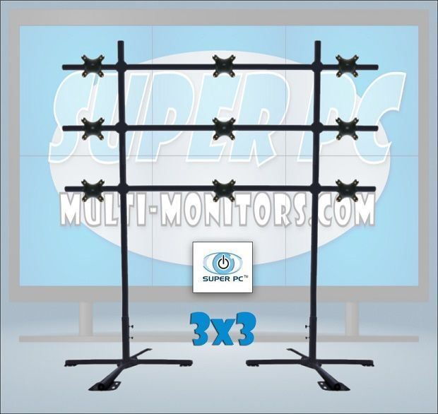 SUPER PC | 3 x 3 Monitor Mount | Portable Video Wall Floor