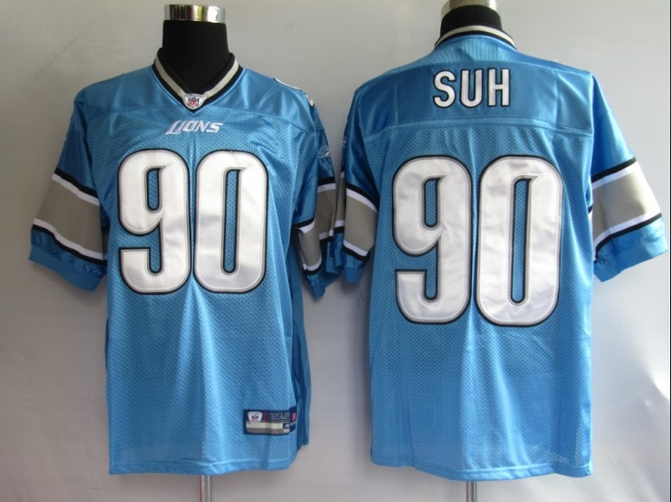 Ndamukong Suh Blue Jersey $19.99 This jersey belongs to Ndamukong Suh, Detroit Lions #90  Color:blue, Size: M, L, XL, XXL, XXXL  The jersey is made of heavy fabric with nylon diamond weave mesh