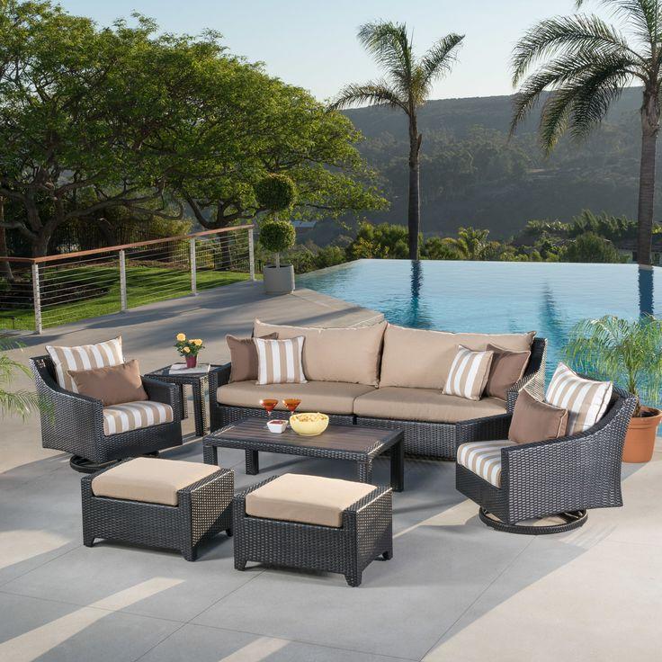 Best Northridge 8 Piece Rattan Sunbrella Sofa Seating Group 400 x 300
