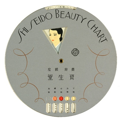 """Wheel of Beauty Fortune: This rotating Beauty Chart was created in 1936. Based on a particular look, like """"Social Makeup for a Chandelier Light Setting"""", it would provide appropriate beauty product options."""