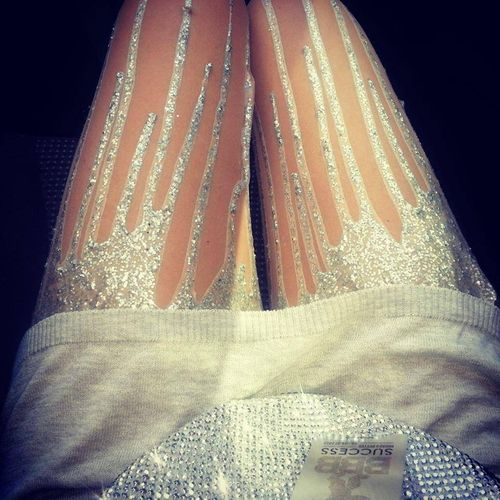 I think I need a pair of silver Glitter Drip Tights... they match everything.