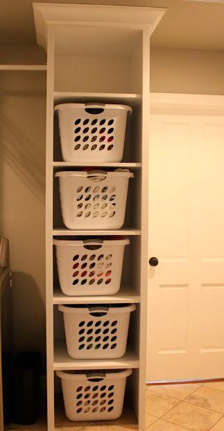 Perfection! Floor to Ceiling Laundry Basket Stackable //