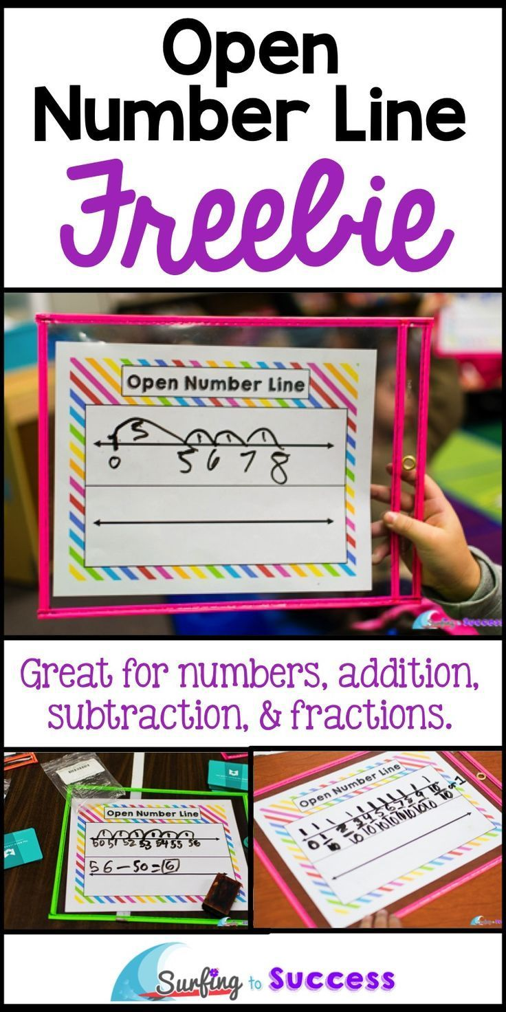 Open Number Lines are great for place value, addition, subtraction and fractions.  These free math workmats can be printed once and used repeatedly.  Great way to save paper!