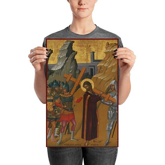 Christ Bearing the Cross  Christian Poster  from an ancient