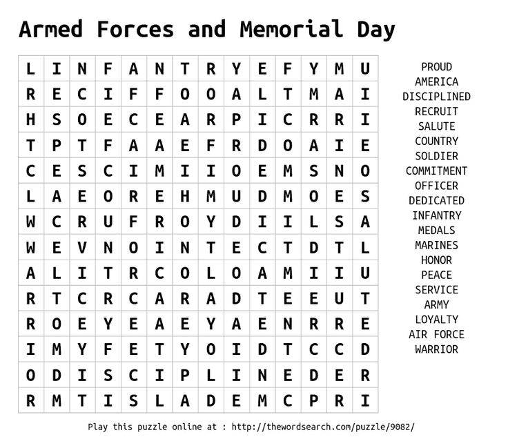 Best Memorial Day Word Search Free 4406 Printable ColoringAce.com