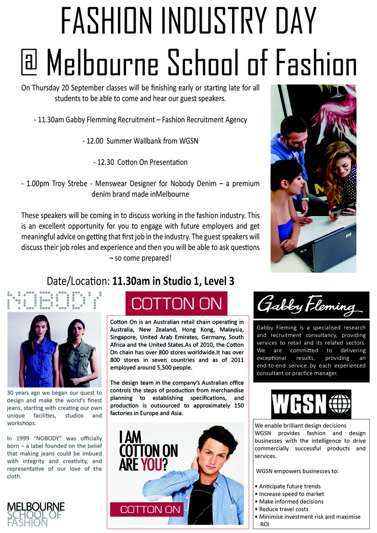 Melbourne School of Fashion - Industry Day Poster 2012