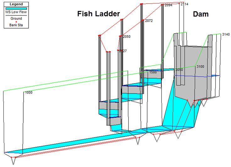 hec ras fish ladder 3d plot hec ras ladder diagram. Black Bedroom Furniture Sets. Home Design Ideas