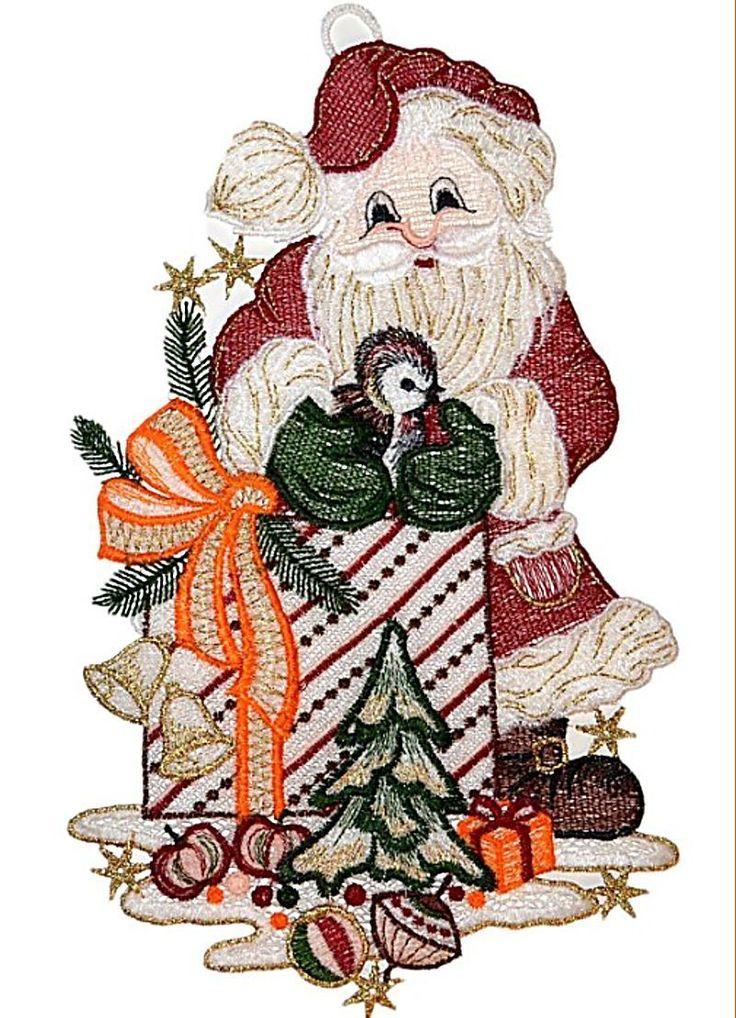 Details Zu Niedliches Fensterbild PLAUENER SPITZER Weihnachten WEIHNACHTSMANN Vogel 19x31