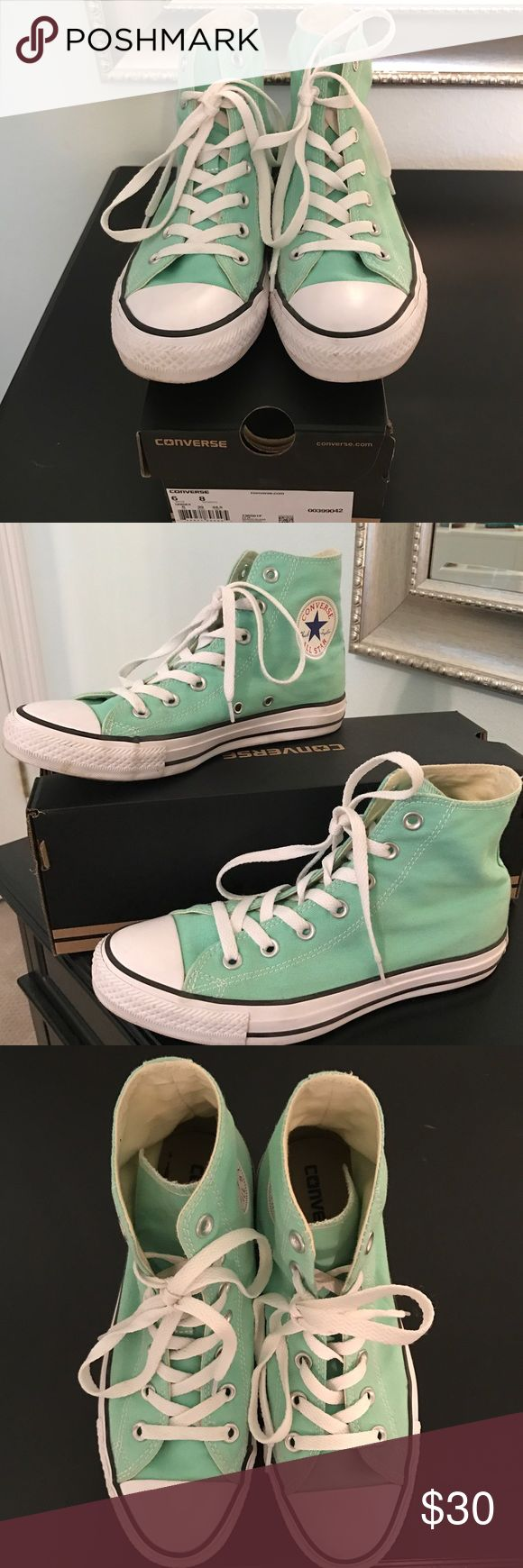 Mint high top Converse Very cute high top sneakers with no significant signs of wear & have been stored in the box. Feel free to make an offer :-) Converse Shoes