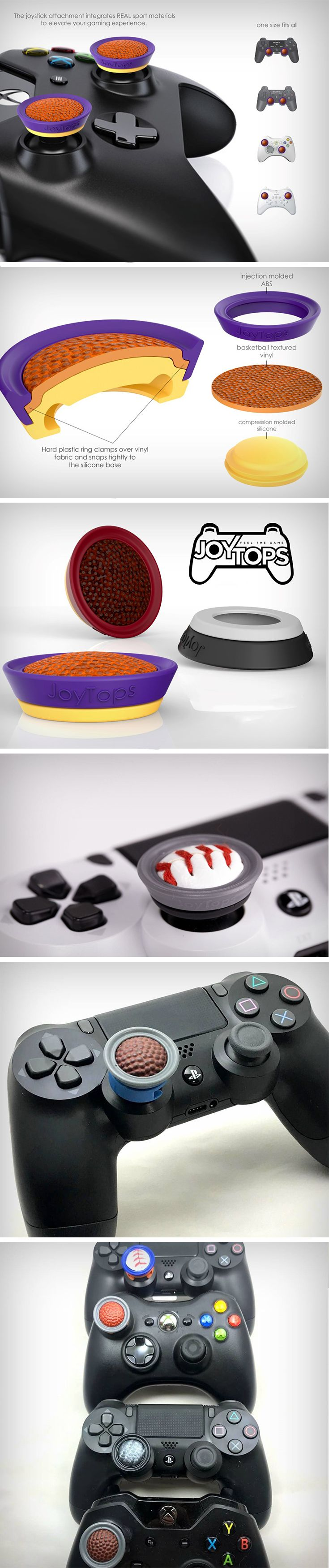 In probably the ultimate real-life virtual-life sports cross-over, JoyTops creates actual sports equipment based control buttons for joypads! The buttons feature real pieces of basketball/baseball/football cut into the shape of the joypad button.  JoyTops allows gamers to get that very feel and comfort while gaming on their joypads.