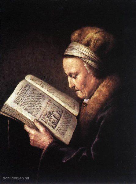 """Painting """"Oude vrouw lezend in een Bijbel"""" by Gerrit Dou - www.schilderijen.nu"""