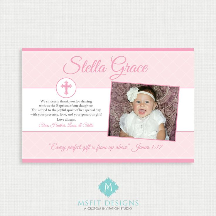 Printable Baptism Thank You Card -  Printable thank you card - Unisex Baptism/Blessing/Christening, Girl Thank you by MsfitDesigns on Etsy